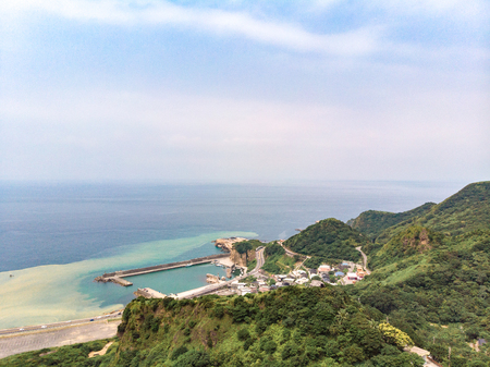 13-Layer Remains (Remains of Copper Refinery) Aerial View in Yinyang Sea of Shuinandong, Ruifang District, New Taipei, Taiwan. Imagens