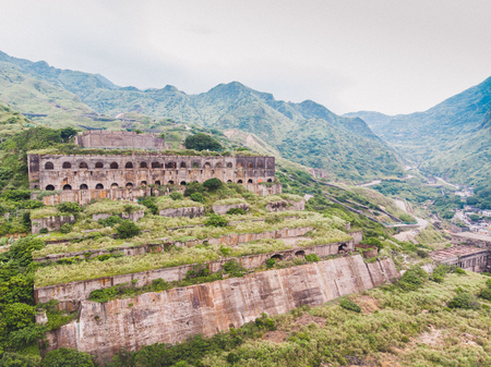13-Layer Remains (Remains of Copper Refinery) Aerial View in Yinyang Sea of Shuinandong, Ruifang District, New Taipei, Taiwan.