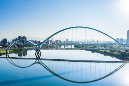 Crescent Bridge - landmark of New Taipei,  aerial photography in New Taipei, Taiwan.