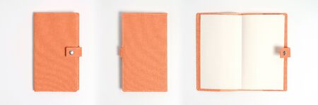 top view blank orange leather diary on white desk