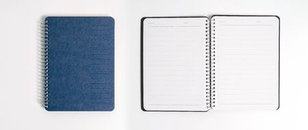 blue cover of the daily planner on white background Reklamní fotografie