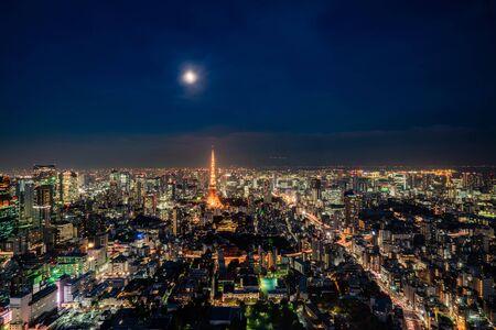 night view in Tokyo, Japan