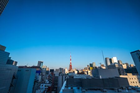 Asia business concept for real estate and corporate construction - panoramic urban city skyline aerial view under blue sky and sunny day in hamamatsucho, tokyo, Japan Stock Photo