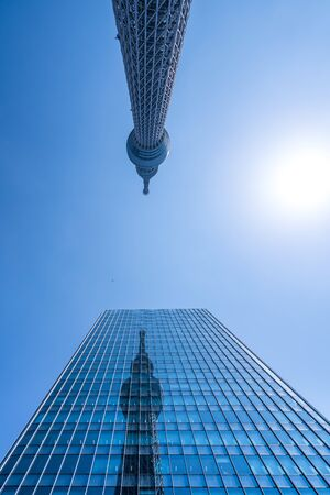 Tokyo ,Japan - March 27, 2016: A part of Japan Tokyo skytree tower building with blue sky