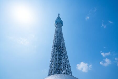 TOKYO, JAPAN - March 27, 2019: A part of Japan Tokyo skytree tower building with blue sky