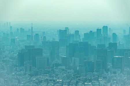 dust during daytime in a very polluted city - in this case Tokyo, Japan. Cityscape of buildings with bad weather from Fine Particulate Matter. Air pollution.