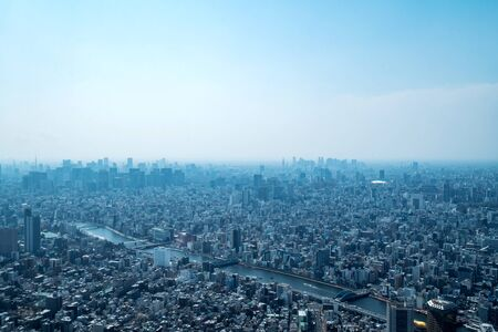Asia business concept for real estate and corporate construction - panoramic urban city skyline aerial view under sky in tokyo, Japan 版權商用圖片 - 138045320