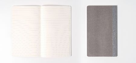 gray notebook isolated on white background.top view