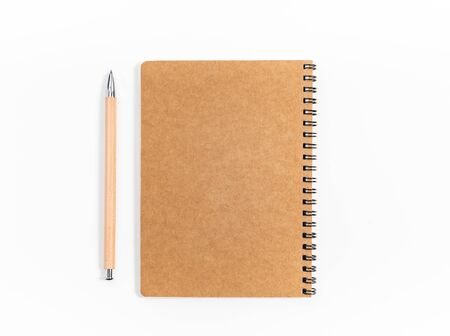 Brown spiral notebook isolated on white background.top view Stock fotó
