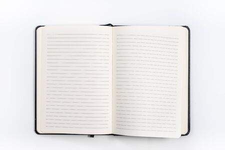 black notebook on white background with clipping path Foto de archivo