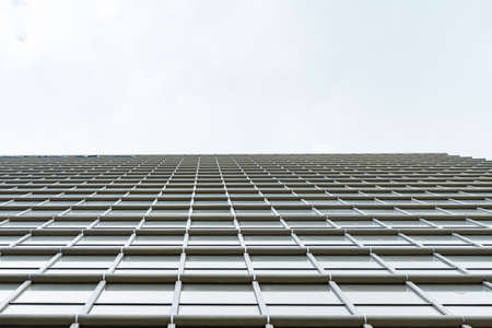 underside panoramic and perspective view to steel blue glass high rise building skyscrapers, business concept of successful industrial architecture Stock Photo