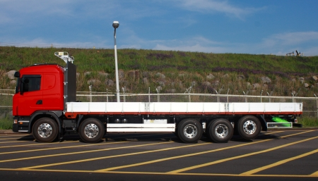 truck parking by street Stock Photo