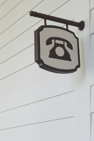 Closeup of a telephone sign