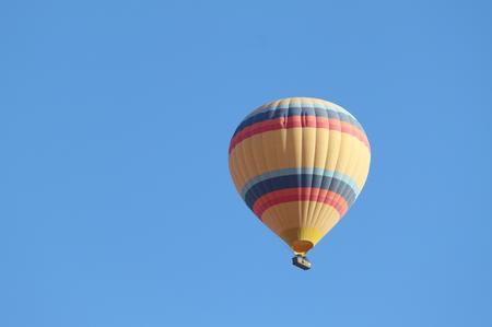 Closeup of a hot air balloon in the air