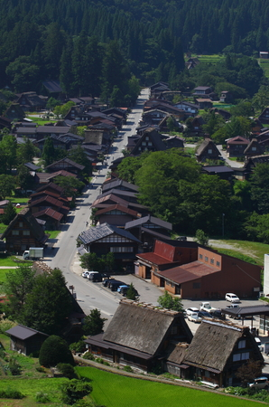 Aerial view of a small Japan town under sunlight