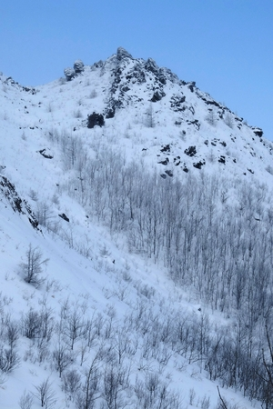 Hillside covered by snow background in blue sky