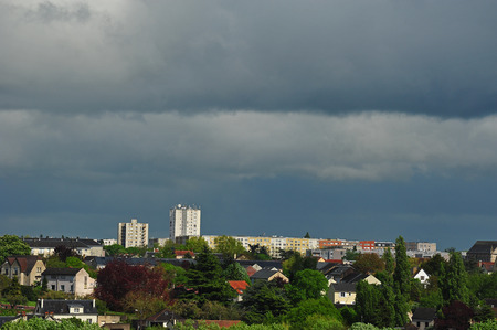 urban panorama with sky announcing the storm Stock Photo