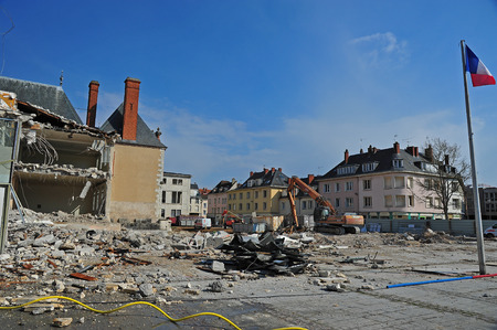 demolition site of a dilapidated building Stock Photo