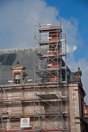 scaffolding on facade building Banco de Imagens