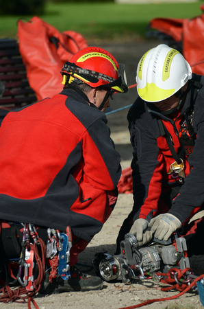 firefighters during a training session Stok Fotoğraf