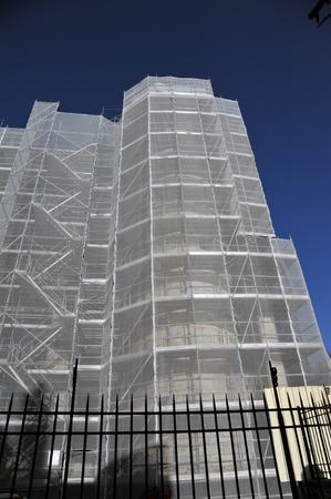 scaffolding on building facade Banco de Imagens