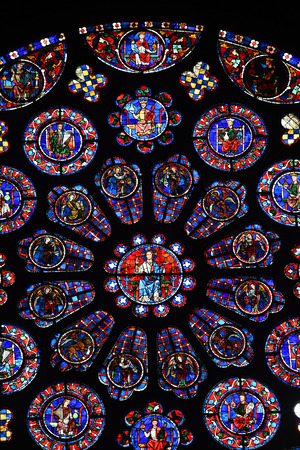 stained glass window of the cathedral of Chartres- France Banco de Imagens - 119786174