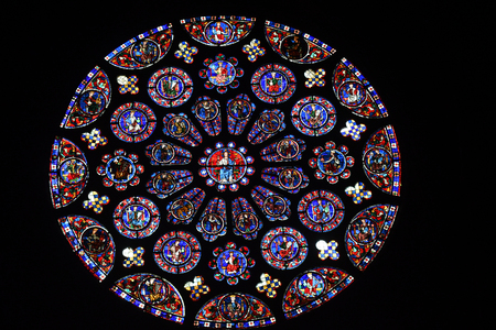 stained glass (rose window) of Chartres cathedral - France