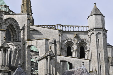 detail of the east facade of Chartres Cathedral - France