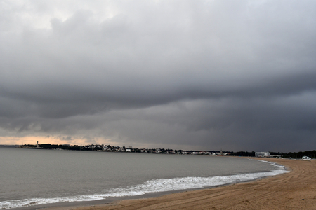 beach before storm and rain