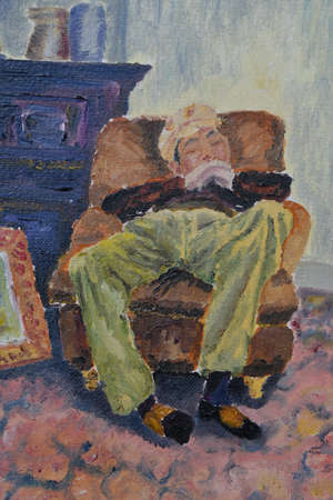 figurative picture of a character in a chair