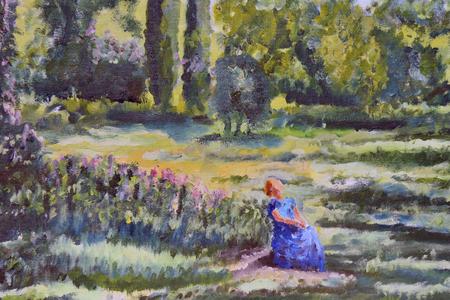 pintura de un paisaje con una mujer Foto de archivo
