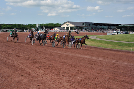 horse race in sulky Stock Photo