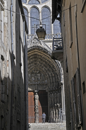 south facade of the cathedral of Chartres seen from an alley Stock Photo