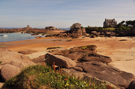 Rocky side of pink granite from Tregastel l in Brittany Stock fotó
