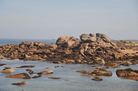 Pink rocky granite rock coast of Tregastel-France