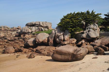 Pink rocky granite rock coast of Tregastel-France Banque d'images