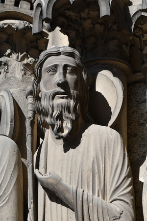 statue on the south facade of Chartres Cathedral