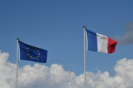 French and European flags Banco de Imagens