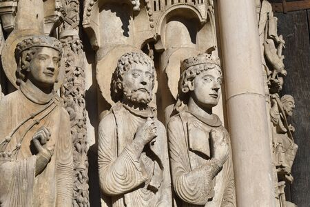 statues on the west portal of the cathedral of Chartres- 写真素材