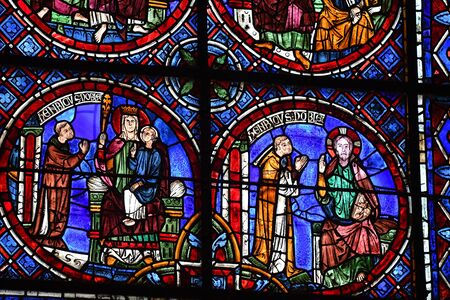 stained glass window of Chartres cathedral - France 写真素材 - 124990393