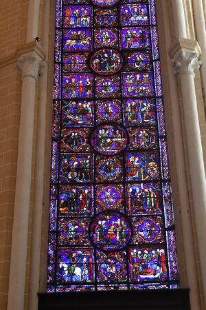 stained glass window of Chartres cathedral - France