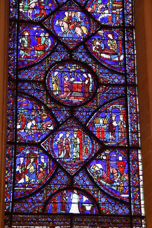 stained glass window of Chartres cathedral - France 写真素材 - 124990401