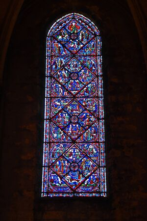 stained glass window of the cathedral of Chartres- France 写真素材 - 124990404