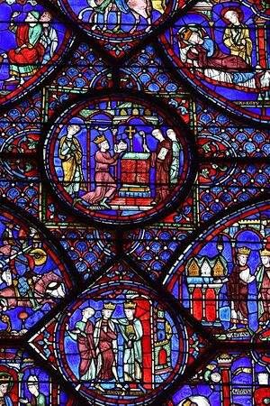 stained glass window of the cathedral of Chartres- France 写真素材 - 124990405