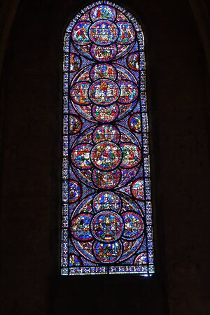 stained glass window of the cathedral of Chartres- France 写真素材 - 124990423