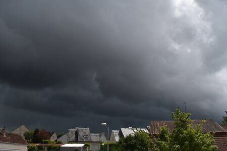 sky threatening the storm on the city