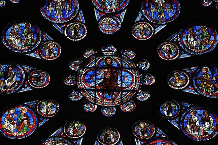 stained glass window of Chartres cathedral - France 写真素材 - 124990329