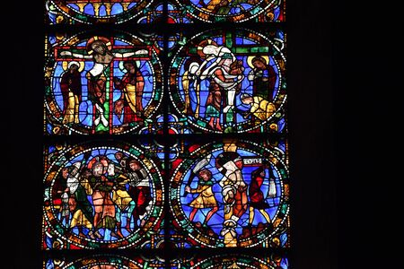 stained glass window of Chartres cathedral - France 写真素材 - 124990330