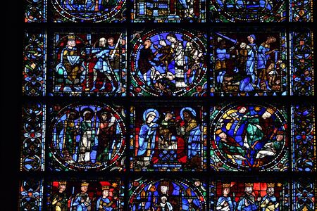 stained glass window of Chartres cathedral - France 写真素材 - 124990331