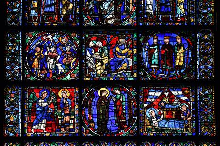 stained glass window of Chartres cathedral - France 写真素材 - 124990332